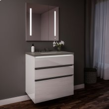 "Curated Cartesian 24"" X 7-1/2"" X 21"" and 24"" X 15"" X 21"" Three Drawer Vanity In White Glass With Tip Out Drawer, Slow-close Plumbing Drawer, Full Drawer, Night Light and Engineered Stone 25"" Vanity Top In Stone Gray (silestone Expo Grey)"