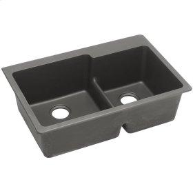 "Elkay Quartz Classic 33"" x 22"" x 9-1/2"", Offset 60/40 Double Bowl Drop-in Sink with Aqua Divide, Dusk Gray"