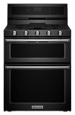30-Inch 5 Burner Gas Double Oven Convection Range - Black