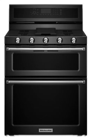 30-Inch 5 Burner Gas Double Oven Convection Range - Black
