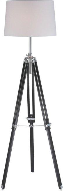 Floor Lamp, Chrome/blk/wht Fabric Shade, E27 Cfl 23w