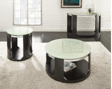 "Croften Cracked Glass Round End Table 24""X24""X24""H 15mm"