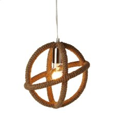 Wrapped Rope Sphere Pendant. 40W Max. Plug-in with Hard Wire Kit Included.