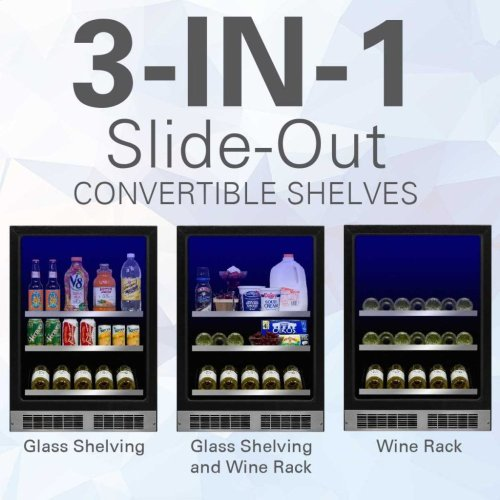 """Marvel 24"""" Beverage Center with Display Wine Rack - Stainless Frame, Glass Door With Lock - Integrated Right Hinge, Professional Handle"""