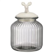 Lidded Glass Jar,Deer Finial