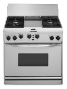 "36"" Width 4 Burners & Griddle Porcelain-on-Steel Cooktop True Convection Oven Architect® Series Dual Fuel Freestanding or Slide-In Range"