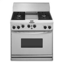 "36"" Width 4 Burners & Griddle Porcelain-on-Steel Cooktop True Convection Oven Architect® Series Dual Fuel Freestanding or Slide-In Range"
