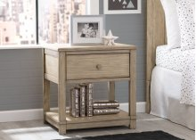 Langston Nightstand with Drawer and Shelf - Rustic Whitewash (112)
