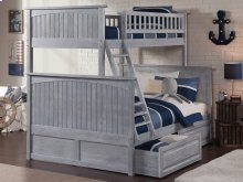 Nantucket Bunk Bed Twin over Full with Raised Panel Drawers in Driftwood Grey