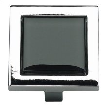 Spa Black Square Knob 1 3/8 Inch - Polished Chrome