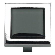 Spa Black Square Knob 1 3/8 Inch - Polished Chrome