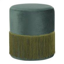 Fringe Ottoman - Emerald Green Velvet