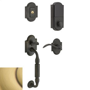 Satin Brass and Brown Evolved Canterbury Lever Sectional Handleset