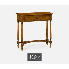 Country Walnut Small Console Table with Drawer