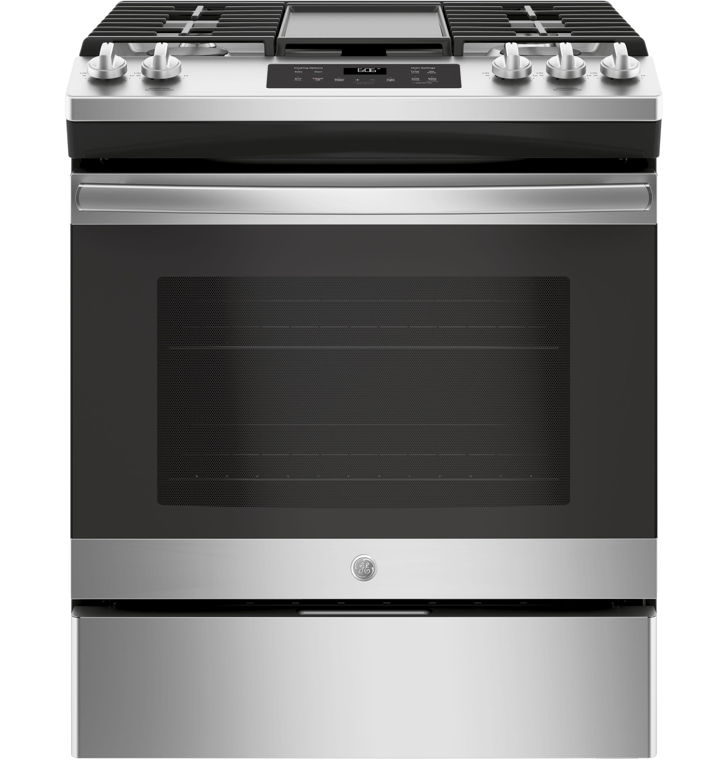 """GE(R) 30"""" Slide-In Front Control Gas Range  STAINLESS STEEL"""