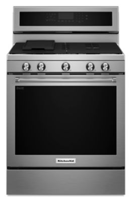 GREAT DEAL - FULL WARRANTY - SLIGHTY USED AS A LOANER - 30-Inch 5-Burner Gas Convection Range - Stainless Steel - MODEL KFGG500ESS
