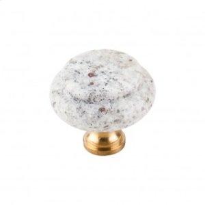 Kashmire White Granite Knob 1 3/8 Inch - Brass