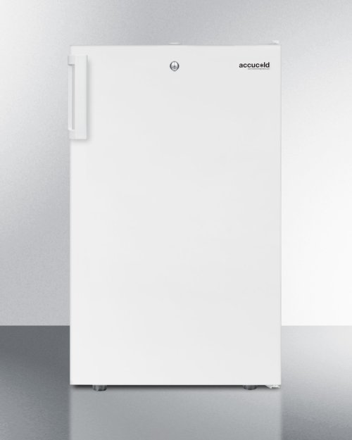 """Commercially Listed ADA Compliant 20"""" Wide Built-in Undercounter Refrigerator-freezer In White With A Front Lock"""