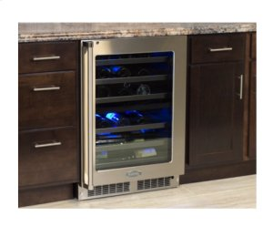 "24"" High Efficiency Dual Zone Wine Cellar - Stainless Frame, Glass Door With Lock - Integrated Left Hinge"