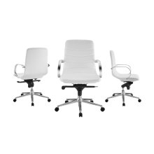 The Horizon Arm White Eco-leather Office Chair