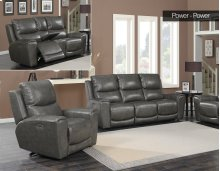 "Laurel Pwr-Pwr Sofa, Grey 86""x40""x40"""