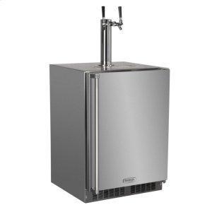 """MarvelOutdoor 24"""" Twin Tap Built In Beer Dispenser with Stainless Steel Door - Solid Stainless Steel Door With Lock - Left Hinge"""