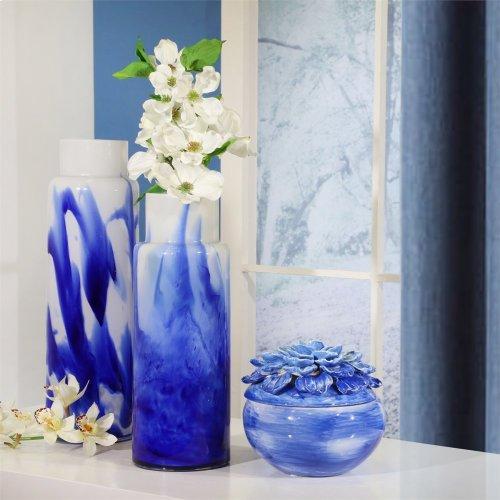 "Glass Vase 13"", White / Blue"