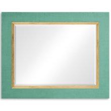 "Robin's Egg and Gold ""Homespun"" Mirror"