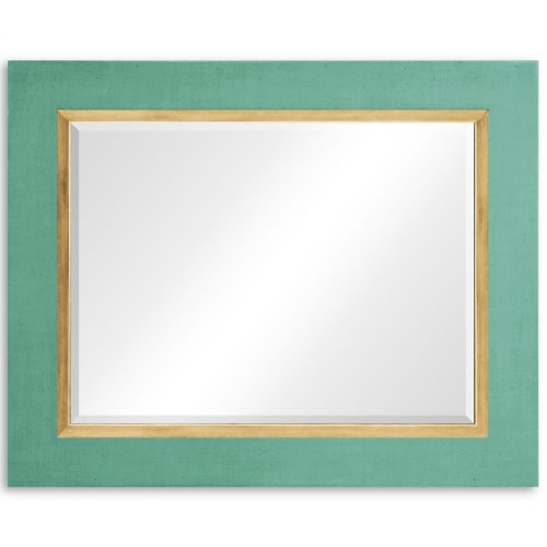 "Robin's Egg and Gold ""Homespun"" Mirror"