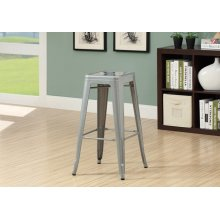 "BARSTOOL - 2PCS / 30""H / SILVER GALVANIZED METAL CAFE"