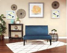 Laguna Loveseat In Azure Velvet Fabric and Dark Espresso Legs