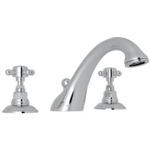 Polished Chrome Viaggio 3-Hole Deck Mount C-Spout Tub Filler with Cross Handle