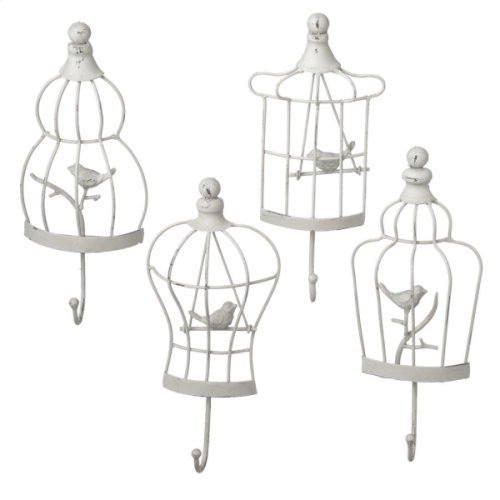 Distressed Ivory Bird Cage Wall Hook (4 asstd)