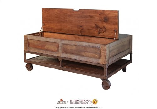 Lif Top Cocktail Table w/2 Drawers & Wheels - KD System