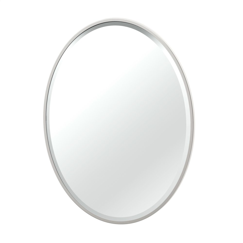 Flush Mount Framed Oval Mirror in Satin Nickel