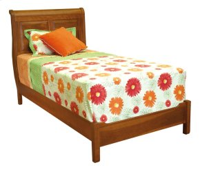 Wellington Low Profile Sleigh Bed, Wood Rails And Wooden Slats