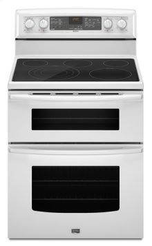 White Maytag® 6.7 cu. ft. capacity electric double oven range with Even-Air™ true convection
