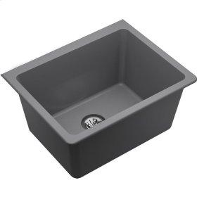 "Elkay Quartz Classic 25"" x 18-1/2"" x 11-13/16"", Undermount Laundry Sink with Perfect Drain, Greystone"