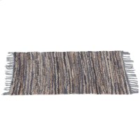 Blue & Beige Leather Chindi 2'x3' Rug (Each One Will Vary). Product Image