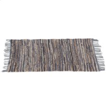 Blue & Beige Leather Chindi 2'x3' Rug (Each One Will Vary).