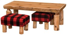 """Open Coffee Table with Two Footstools 24"""" x 48"""", Standard Finish"""