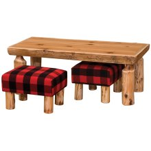 "Open Coffee Table with Two Footstools - 24"" x 48"" - Natural Cedar - Armor Finish"