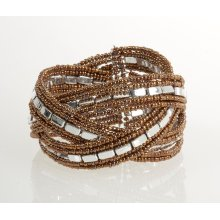 BTQ Brown and Silver Braided Cuff