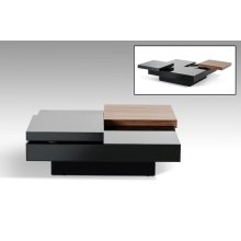 Modrest Ambry Modern Walnut and Black Coffee Table
