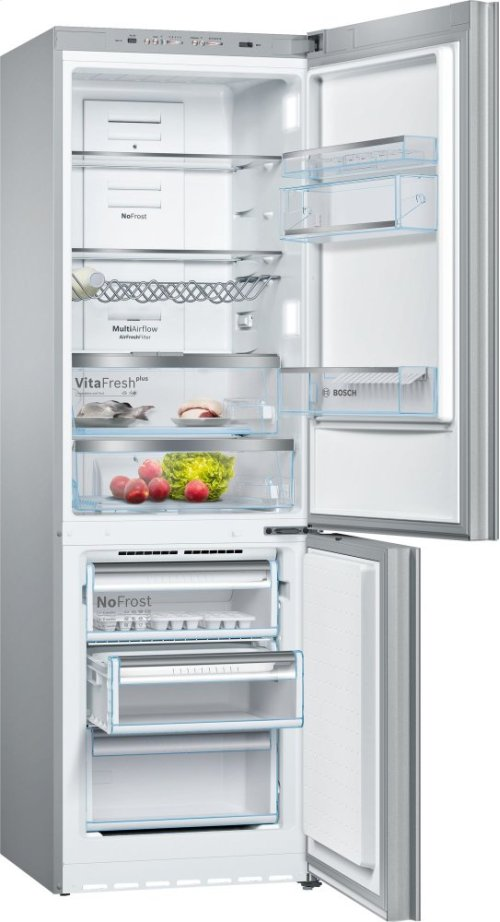 800 Series, Free-standing fridge-freezer-Glass on Stainless Steel