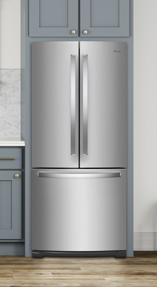 WHIRLPOOL 30 Inch Wide Contemporary Handle French Door Refrigerator   20  Cu. Ft.