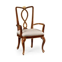 Antique Mahogany Brown Dining Armchair