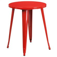 24'' Round Red Metal Indoor-Outdoor Table