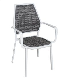 Dining Wicker Chair-base #champagne Silver Finish-gray Wicker (4/ctn)