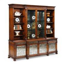 Large Breakfront Walnut & glomise Cabinet
